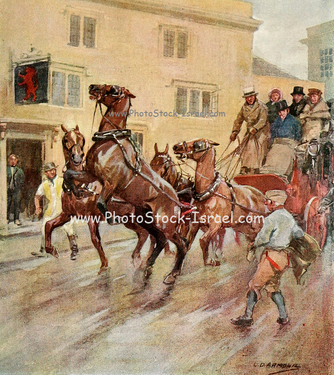"""Let 'em go, then,"""" quoth the artist, """" and take care of yourselves from the book The sport of our ancestors; being a collection of prose and verse setting forth the sport of fox-hunting as they knew it; by baron Willoughby de Broke, Richard Greville Verney, 1869-1923; and illustrated by Armour, G. D. (George Denholm),  Published in London by Constable and co. ltd. in 1921"""