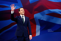 © Licensed to London News Pictures. 05/10/2015. Manchester, UK. Chancellor of Exchequer George Osborne leaving the stage after speaking at Conservative Party Conference at Manchester Central in Manchester on Monday, 5 October 2015. Photo credit: Tolga Akmen/LNP