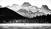 National team speed skaters take to the outdoors for a training session in the Bow Valley at Gap Lake, Alberta, on December 2, 2020.
