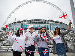 © Licensed to London News Pictures.  10/07/2021. London, UK. England football supporters visit Olympic Way in Wembley Stadium ahead of the EURO 2020 final in London between England and Italy tomorrow evening (Sunday). Photo credit: Marcin Nowak/LNP