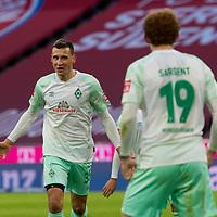 21.11.2020, Allianz Arena, Muenchen, GER,  FC Bayern Muenchen SV Werder Bremen <br /> <br /> <br />  im Bild Jubel nach dem Tor zum 0-1 durch Maximilian Eggestein (SV Werder Bremen #35) mit Josh Sargent (SV Werder Bremen #19) <br /> <br /> <br /> <br /> Foto © nordphoto / Straubmeier / Pool/ <br /> <br /> DFL regulations prohibit any use of photographs as image sequences and / or quasi-video.