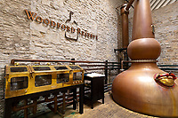 Copper pot stills, Woodford Reserve Distillery (premium bourbon), Versailles (near Lexington), Kentucky USA