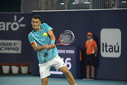 March 22, 2019 - Miami Gardens, Florida, United States Of America - MIAMI GARDENS, FLORIDA - MARCH 22: Bernard Tomic of Serbia defeats Bernard Tomic of Australia during the Miami Open day 5 Presented by Itau at Hard Rock Stadium March 22, 2019 in Miami Gardens, Florida..People: Bernard Tomic. (Credit Image: © SMG via ZUMA Wire)