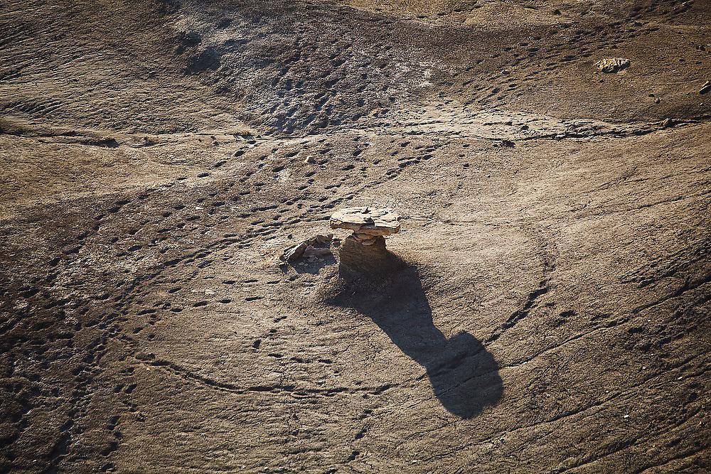 Cattle and horse tracks encircle a stone hoodoo in the badlands near Factory Butte, Utah.
