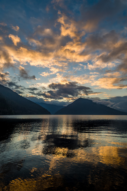 Lake Crescent, evening clouds, November, Olympic National Park, Clallam County, Washington, USA