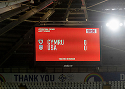 SWANSEA, WALES - Thursday, November 12, 2020: The scoreboard records the goal-less draw during an International Friendly match between Wales and the USA at the Liberty Stadium. (Pic by David Rawcliffe/Propaganda)
