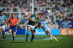 August 25, 2018. Malvinas Argentinas Stadium, Mendoza, Argentina.<br /> MALCOM MARX trying to escape from GONZALO BERTRANOU defensive tackle.