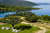 Lac de Sainte-Croix in southern France is a man-made lake formed as a result of the Barrage de Sainte-Croix dam.