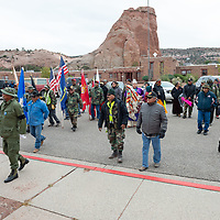 The veterans gathered outside at the Navajo Nation Council Chambers steps, in Window Rock on Wednesday.