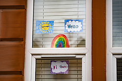 Glasgow, Scotland, UK. 3 April, 2020. Images from the south side of Glasgow at the end of the second week of Coronavirus lockdown. Pictured; hand drawn rainbows and messages in windows of flats in Govanhill and Shawlands. Iain Masterton/Alamy Live News