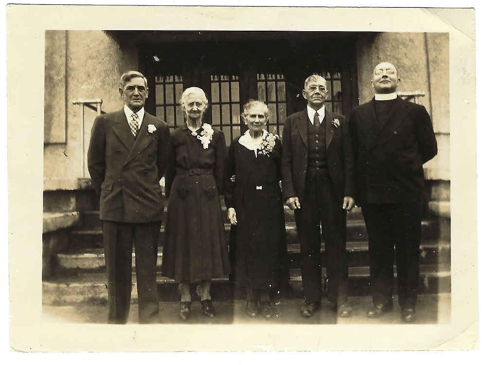 """""""Great Aunt Francis and Uncle Nick Peci (sp?) 50th wedding anniv. St. Mary Lee Liberty Hall without whose kindness I (L.S.) would never have gone to high school (they had no children) *note pose of priest – apparently NOT IRISH one!"""""""
