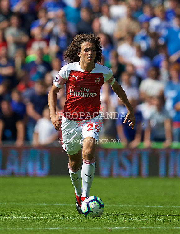 CARDIFF, WALES - Sunday, September 2, 2018: Arsenal's Mattéo Guendouzi during the FA Premier League match between Cardiff City FC and Arsenal FC at the Cardiff City Stadium. (Pic by David Rawcliffe/Propaganda)