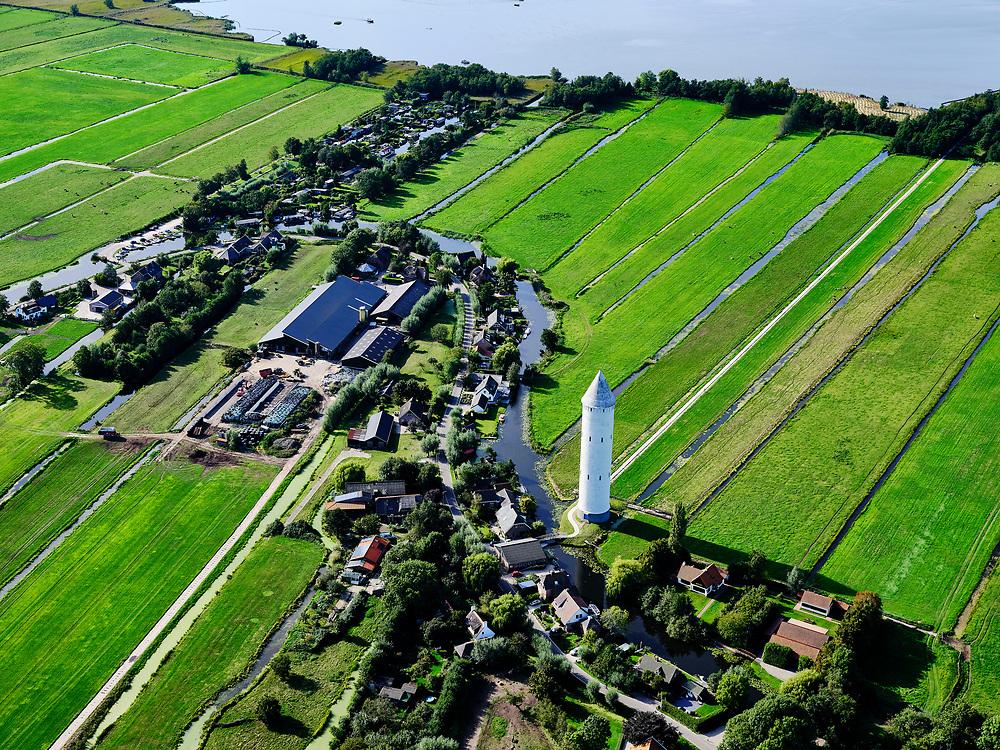 Nederland, Zuid-Holland, Achttienhoven, 14-09-2019; Zicht op dorp Meije, Watertoren Nieuwkoop (bijnaam: Pietje Potlood). Nieuwkoopsche Plassen.<br /> Water area, peat meadow landscape, border Utrecht Zuid-Holland.<br /> View on the village of Meije, Watertoren Nieuwkoop (nickname: Piet Potlood). Nieuwkoopsche Plassen.<br /> luchtfoto (toeslag op standard tarieven);<br /> aerial photo (additional fee required);<br /> copyright foto/photo Siebe Swart