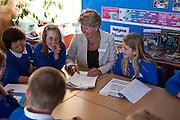 Gill Harper the school sustainable development meeting the school student eco team to discuss sustainable developments within the school. St Columb Minor School, Cornwall.
