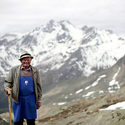 """Shepherd Johann Niedermaier, 86, arrives at mountain shelter """"Schoene Aussicht"""" (Bella Vista) at 2,842 meters above sea level, in the autonomous region of South Tyrol, Italy, June 9, 2018. Picture taken June 9, 2018. REUTERS/Lisi Niesner - RC1FCB32DC30"""