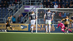 Alloa Athletic's Liam Buchanan scores their penalty.<br /> half time : Falkirk 1 v 1 Alloa Athletic, Scottish Championship game played 4/10/2014 at The Falkirk Stadium.