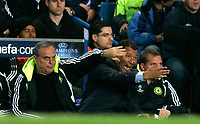 Photo: Tom Dulat.<br /> Chelsea v Shalke 04. Group B, UEFA Champions League. 24/10/2007.<br /> Henk ten Cate(R) and Avram Grant(L) show of their emotions during the game.
