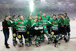 Ziga Pesut of Olimpija and other players of Olimpija celebrate after they became Slovenian National Champion 2016 after winning during ice hockey match between HDD Telemach Olimpija and HDD SIJ Acroni Jesenice in Final of Slovenian League 2015/16, on April 11, 2016 in Hala Tivoli, Ljubljana, Slovenia. Photo by Vid Ponikvar / Sportida