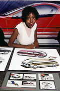 Art Center College of Design, Pasadena, California. Department of Transportation Design. Graduating student E. King shows her portfolio of auto design in 1983. MODEL RELEASED. USA.