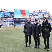 NEW YORK, NEW YORK - March 18: New York City FC Sporting Director Claudio Reyna, (center), with injured Manchester City players Gabriel Jesus, (left) and Ilkay Gundogan before the New York City FC Vs Montreal Impact regular season MLS game at Yankee Stadium on March 18, 2017 in New York City. (Photo by Tim Clayton/Corbis via Getty Images)