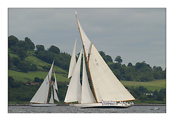 Gaff Cutters The Lady Anne and Moonbeam pass each other on the Upper Clyde on the way to Rothesay...This the largest gathering of classic yachts designed by William Fife returned to their birth place on the Clyde to participate in the 2nd Fife Regatta. 22 Yachts from around the world participated in the event which honoured the skills of Yacht Designer Wm Fife, and his yard in Fairlie, Scotland...FAO Picture Desk..Marc Turner / PFM Pictures