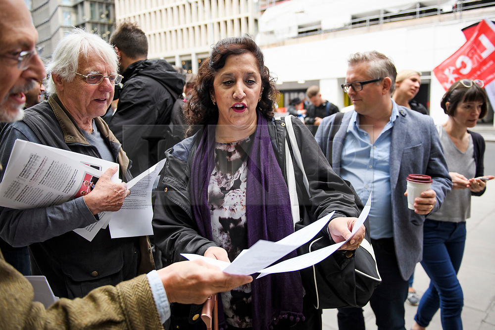 © Licensed to London News Pictures. 04/09/2018. London, UK. DARREN WILLIAMS (centre) and YASMINE DAR (right) arrive at Labour Party headquarters in London to attend a National Executive Committee meeting. The Labour Party's ruling body is expected to vote on whether to adopt, in full, the IHRA (International Holocaust Remembrance Alliance) definition of anti-Semitism. Photo credit: Ben Cawthra/LNP