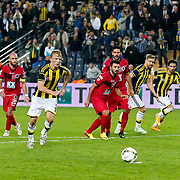 Fenerbahce's Dirk Kuyt (2ndL) scores during their Turkish superleague soccer match Fenerbahce between Genclerbirligi at the Sukru Saracaoglu stadium in Istanbul Turkey on Saturday 25 October 2014. Photo by Aykut AKICI/TURKPIX