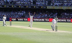 England's James Anderson appeals for the wicket of Peter Handscomb which was given out on reviewduring day two of the Ashes Test match at The Gabba, Brisbane.