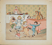 Hey, diddle, diddle, the cat and the fiddle / The cow jumped over the moon / The little dog laughed to see such fun / And the dish ran away with the spoon. from the book  ' Hey diddle diddle and Baby bunting ' by Randolph Caldecott, Published in London by George Routledge & Sons in 1882