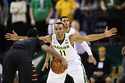 WACO, TX - JANUARY 5: Lester Medford #11 of the Baylor Bears defends against the Oklahoma State Cowboys on January 5, 2016 at the Ferrell Center in Waco, Texas.  (Photo by Cooper Neill/Getty Images) *** Local Caption *** Lester Medford
