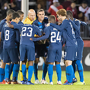 EAST HARTFORD, CONNECTICUT- October 16th:  The United States team in a huddle before the start of the second half during the United States Vs Peru International Friendly soccer match at Pratt & Whitney Stadium, Rentschler Field on October 16th 2018 in East Hartford, Connecticut. (Photo by Tim Clayton/Corbis via Getty Images)