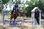Te Paard - Historisch paardenspektakel bij het Nationaal Militair Museum  - NMM. Tijdens 'Te Paard!' ontdekken bezoekers de rol van het paard binnen de krijgsmachten van vroeger en nu. Naast een show in de arena zijn er verschillende demonstraties.<br /> <br /> Op de foto:  Hippische afsluiting met Marchaussee te paard