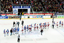 Teams shaking hands after ice-hockey match between KHL Medvescak Zagreb and HK Acroni Jesenice in 39th Round of EBEL league, on Januar 8, 2012 at Arena Zagreb, Zagreb, Croatia. (Photo By Matic Klansek Velej / Sportida)