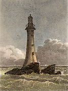 The fourth Eddystone lighthouse built on the Stone 13 miles South-east of Polperro, Cornwall, England, which claimed up to 50 ships a year.  Built by  the English civil engineer John Smeaton (1724-1792) beginning in 1756 it was in operation for 127 years.