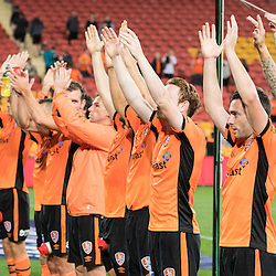 BRISBANE, AUSTRALIA - OCTOBER 7: Brisbane Roar players salute the fans during the round 1 Hyundai A-League match between the Brisbane Roar and Melbourne Victory at Suncorp Stadium on October 7, 2016 in Brisbane, Australia. (Photo by Patrick Kearney/Brisbane Roar)