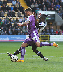 Graham Carey of Plymouth Argyle (L) and Stanley Aborah of Notts County in action - Mandatory byline: Jack Phillips / JMP - 07966386802 - 11/10/2015 - FOOTBALL - Meadow Lane - Nottingham, Nottinghamshire - Notts County v Plymouth Argyle - Sky Bet Championship