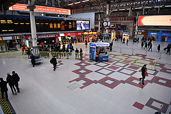 © Licensed to London News Pictures. 14/12/2016. London, UK. Victoria Station mainly empty on 14 December 2016, as hundreds of thousands of rail passengers face a second day of a 3 day all-out strike in an escalating dispute over the role of conductors between Southern Rail and the RMT Union. Photo credit: Ben Cawthra/LNP