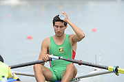 Chungju, South Korea. Sunday Heats, MEX. LM1X. Alan Eber ARMENTA VEGA. Moves away from the start on the opening day of the 2013 FISA World Rowing Championships, Tangeum Lake International Regatta Course. 10:25:59  Sunday  25/08/2013 [Mandatory Credit. Peter Spurrier/Intersport Images]