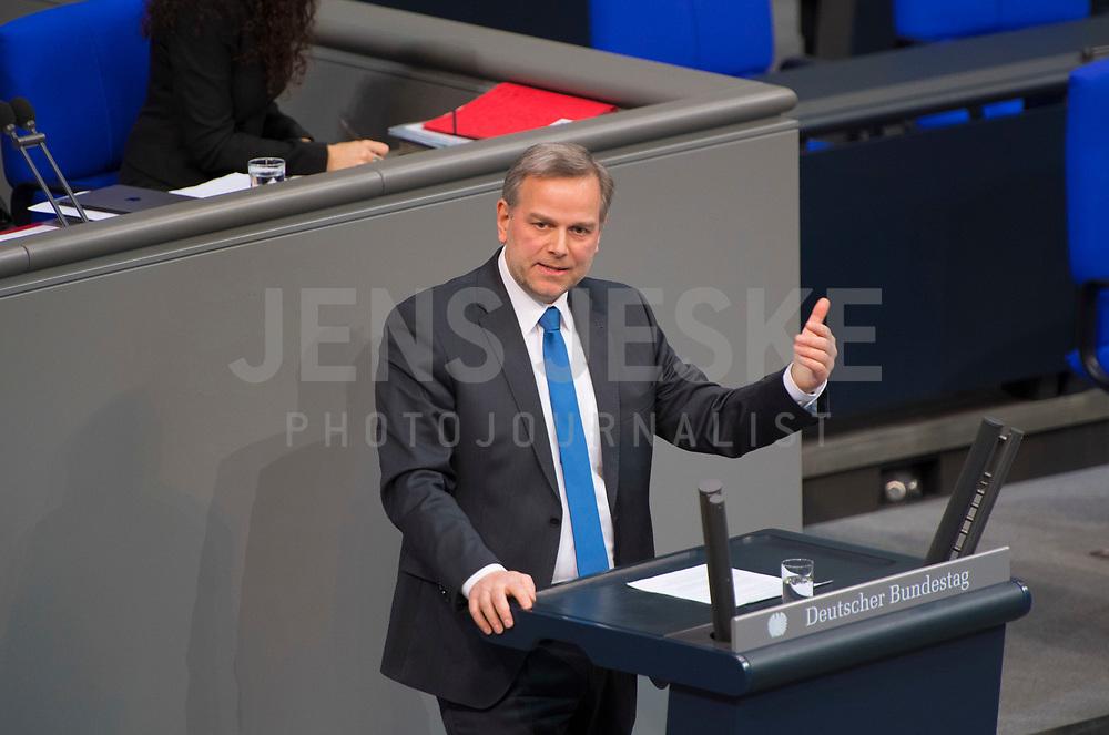 DEU, Deutschland, Germany, Berlin, 31.01.2019: Leif-Erik Holm, Alternative für Deutschland (AfD), bei einer Rede während einer Plenarsitzung im Deutschen Bundestag.