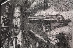 "He's nailed it. String artist Ben Koracevic creates these incredible works of art - using just cord and nails. The London-based creative winds thousands of metres of string around tens of thousands of nails to create what he calls 'stringometry'. Among his works are a huge portrait of Hollywood star Dwayne 'The Rock' Johnson and Keanu Reeves as his John Wick action hero character. He has also created a likeness of Batman baddie The Joker - as played by Joaquin Phoenix in 2019 movie, Joker, as well as animals including a lion and monkeys and guitarist Slash from Guns N' Roses. He only started doing 'string art' nine months ago after watching a video of someone else showing off their skills. ""I was completed fascinated with the rare art form,"" he said. ""Developing my skill and ability to replicate what I witnessed became an obsession and I soon found every spare hour being invested into practising."" The self-taught artist - who holds a science degree - has since quit his job and cashed in his life savings to follow his dream. He added: ""I am quite particular on the pieces I choose. ""It is just an instinct where I know the image will look good in string. ""It is a very time consuming process which is a quality I enjoy. I love the mental endurance and patience needed to complete a piece to high quality. ""Art is a universal language where the work does all the talking!"" Ben uses a grid system overlapping a photo or sketch. He then upscales that on to a wooden canvas, before ""meticulously referencing"" nails to mark a foundation and an outline for the string. He winds the string between the nails to create a likeness, using more string to create darker shadows and more detail. He has used between 6,000 and 30,000 nails on individual pieces - and some contain more than 3,000 metres of string. And he can spend as much as 500 hours alone creating one piece. His works are available to buy at stringometry.com and he is available for private commissions. Please credit Courtesy of"