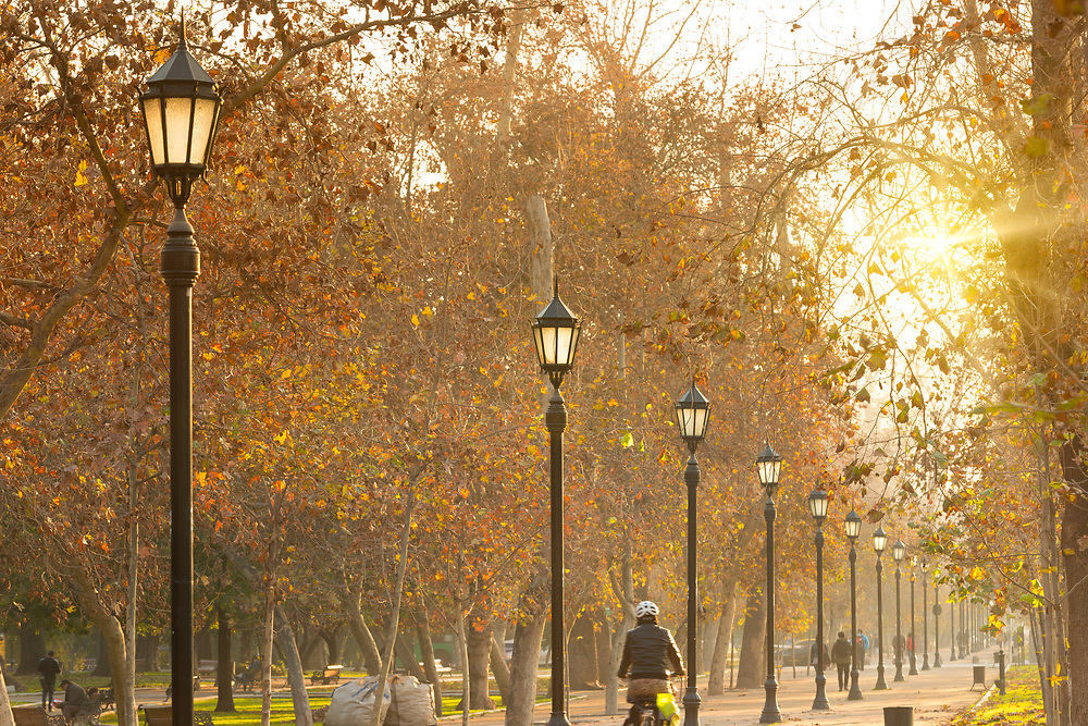 Santiago, Region Metropolitana, Chile - An autumn evening in Parque Forestal, the most traditional and emblematic park in downtown Santiago.