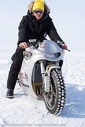 Russian actor Vladimer Yaglych on Yaroslav Tatarinov's custom Kawasaki 1350 GTR at the Baikal Mile Ice Speed Festival. Maksimiha, Siberia, Russia. Saturday, February 29, 2020. Photography ©2020 Michael Lichter.