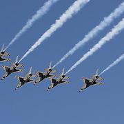 The Thunderbirds perform a flyover prior to the Daytona 500 Sprint Cup race at Daytona International Speedway on February 20, 2011 in Daytona Beach, Florida. (AP Photo/Alex Menendez)