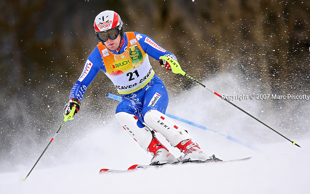 SHOT 11/29/2007 - Swiss skier Daniel Albrecht makes his way through the gates during the slalom run of the Men's Super Combined at the 2007/08 Charles Schwab Birds of Prey ski race in Beaver Creek, Co. The event was won by Swiss skier Daniel Albrecht (2:00.26) with French skier Jean-Baptiste Grange finishing second (2:00.93) and Czech skier Ondrej Bank finishing third (2:01.23). US skier Bode Miller finished just out of the medals in fourth (2:01.28) and Ted Ligety finished eighth (2:01.67). Thomas (TJ) Lanning finished tenth (2:01.89). .(Photo by Marc Piscotty/ © 2007)