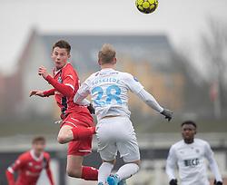 Dalton Wilkins (FC Helsingør) under træningskampen mellem FC Roskilde og FC Helsingør den 15. februar 2020 i Roskilde Idrætspark (Foto: Claus Birch).