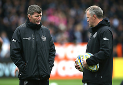 Exeter Chiefs' Director of Rugby Rob Baxter (left) chats with Forwards Coach Rob Hunter during the Aviva Premiership match at Sandy Park, Exeter. PRESS ASSOCIATION Photo. Picture date: Saturday April 28, 2018. See PA story RUGBYU Exeter. Photo credit should read: Mark Kerton/PA Wire. RESTRICTIONS: Editorial use only. No commercial use.