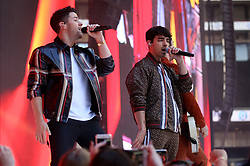 Nick Jonas (left) Joe Jonas and Kevin Jonas of Jonas Brothers on stage during Capital's Summertime Ball. The world's biggest stars perform live for 80,000 Capital listeners at Wembley Stadium at the UK's biggest summer party. PRESS ASSOCIATION PHOTO. Picture date: Saturday June 8, 2019. Photo credit should read: Isabel Infantes/PA Wire