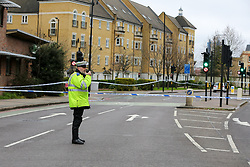 **Please note the deceased concerned in this fatal collision was a pedestrian, not a cyclist as previously reported**<br /> © Licensed to London News Pictures. 30/01/2020. London, UK. Emergency services at the crime scene on Peckham Road as police investigate a fatal road traffic collision in Southwark. Police were called at 06:26hrs on Thursday, 30 January to reports of a VW Golf car in collision with a pedestrian. The pedestrian was pronounced dead at the scene shortly after the collision. Police have arrested one man at the scene on suspicion of causing death by dangerous driving and failing a roadside drug test. Photo credit: Dinendra Haria/LNP