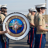 Marine Forces Reserve Band out of New Orleans, LA march down HW 264 during the Navajo Code Talkers Parade in Window Rock, AZ on Aug. 14, 2018.