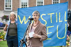 """© Licensed to London News Pictures. 20/02/2019. Bristol, UK. File picture dated 14/07/2016 of MOLLY SCOTT CATO, Green MEP for South West England who is one of 3 Green Party MEPs arrested today in Brussels among a group which also includes Belgian peace activists who scaled the wall of an airbase that stockpiles US weapons and blocked the runway which houses F16 bombers in a protest. Molly Scott Cato posted on her Twitter account: """"I have been arrested for breaking into a Belgian military airbase to protest against the stockpiling of American nuclear bombs."""" Photo credit: Simon Chapman/LNP"""